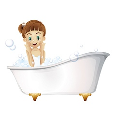 A beautiful girl taking a bath vector