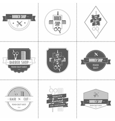 Set of vintage barber shop logo vector
