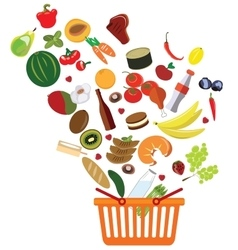 Basket with an abundance of supermarket products vector