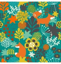 Seamless pattern with fox in the flowers of the vector