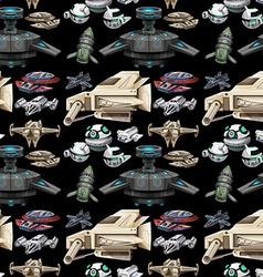 Seamless different design of spaceship vector image
