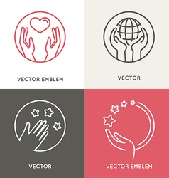 Charity and volunteer concepts and logo design vector