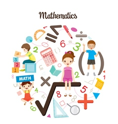Children with mathematics objects and icons vector