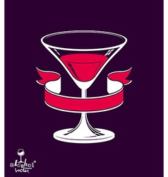 Cartoon martini glass and ribbon emblem vector