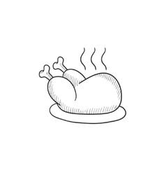 Baked whole chicken sketch icon vector