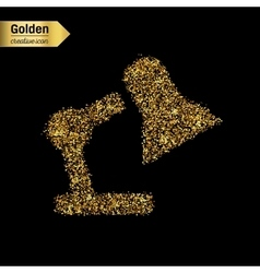 Gold glitter icon of lamp isolated on vector