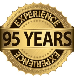 95 years experience golden label with ribbon vector image vector image