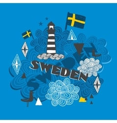 Cool emblem with swedish symbols vector