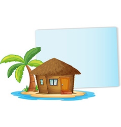 Paper design with bungalow on the island vector