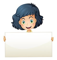 A happy child holding an empty signboard vector image vector image