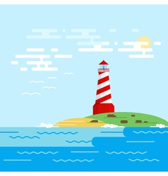 background with lighthouse sea waves in a daytime vector image