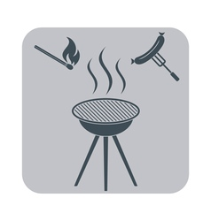 Barbecue sausage icon on white background vector