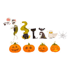 big set collection of cartoon halloween objects vector image