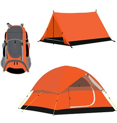 Camping tent and backpack vector image