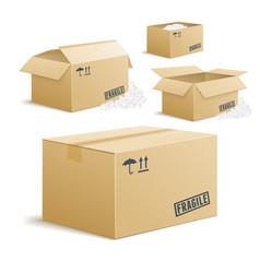 Cardboard box set on transparent background vector