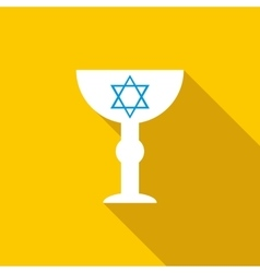 Cup with Star of David icon flat style vector image