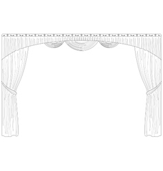 Curtain isolated contour vector image