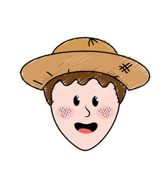 Cute man face with hat vector