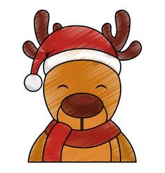 Cute reindeer with santa claus hat vector