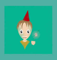 Flat shading style icon child sparkler vector