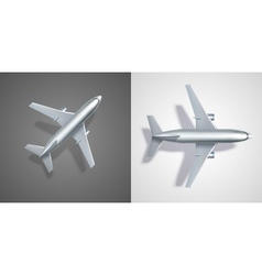 Flying airplane icons on black and white vector image vector image