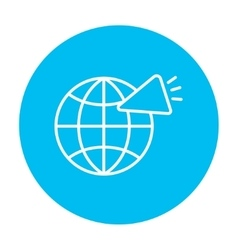 Globe with loudspeaker line icon vector image vector image