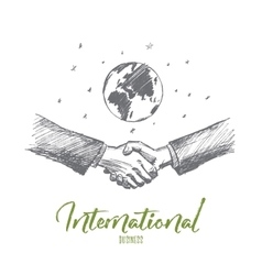Hand drawn business handshake globe at background vector image