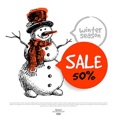 Hand drawn Sale Christmas background vector image