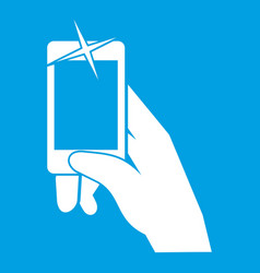 Hand taking pictures on cell phone icon white vector