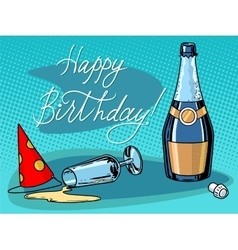 Happy birthday champagne party vector