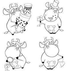 Happy cows Clip-Art Cartoon Coloring book vector image vector image