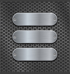 Metal perforated background with oval brushed vector