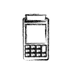 Monochrome blurred silhouette of payment terminal vector
