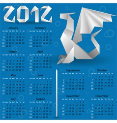 origami calendar for 2012 vector image vector image