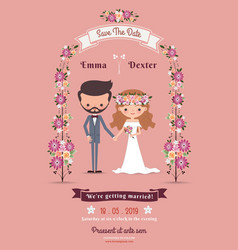 Rustic bohemian cartoon couple wedding card vector image