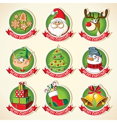 Set of Christmas cartoon stickers vector image