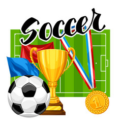 Soccer or football background with ball and vector