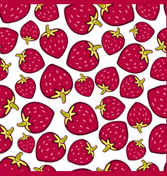 strawberry seamless pattern doodle berry design vector image vector image