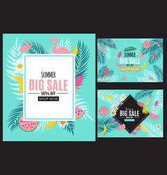 summer sale abstract banner background collection vector image