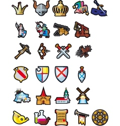 Set of medieval icons vector