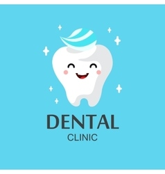 Healthy cute cartoon tooth character vector