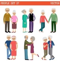 Couples of elderly people vector