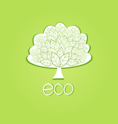 Ornamental tree eco-label vector