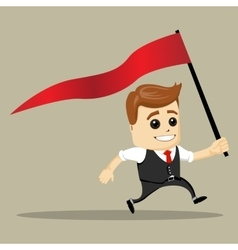 Business man smile and run with flag vector