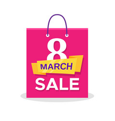 Flat shopping bag with 8 march sale promo text vector