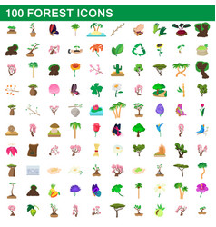 100 forest icons set cartoon style vector image