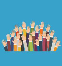 raised up hands volunteering charity vector image