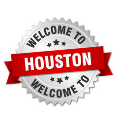 Houston 3d silver badge with red ribbon vector