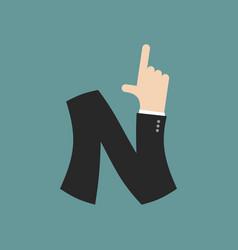 N letter businessman hand font it shows finger vector