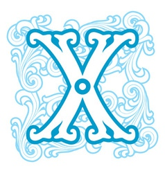 Winter vintage letter x vector